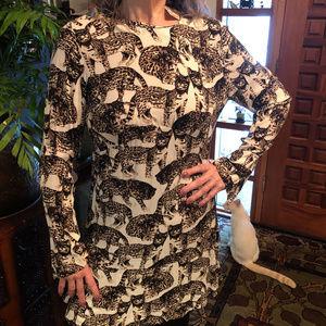 NWT H&M Long Sleeve Bengal Cat Dress sz12
